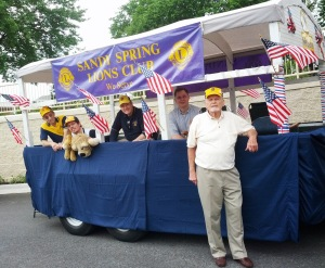 The Lions Float that appeared in the 2013 Olney Days Parade.  Pictured: Lions all, Warren Derrick, Greg Fuller, Raye Litten, David Hull, Larry Kenney
