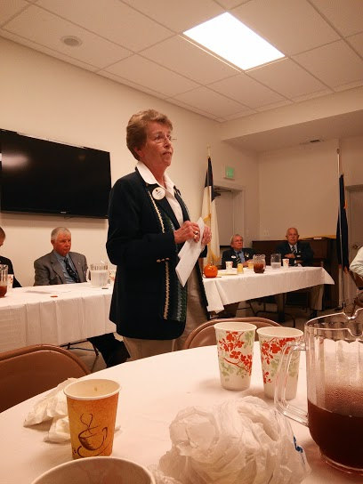 District Governor Dee Hawkins addresses a joint meeting of the Olney and Sandy Spring Lions Clubs
