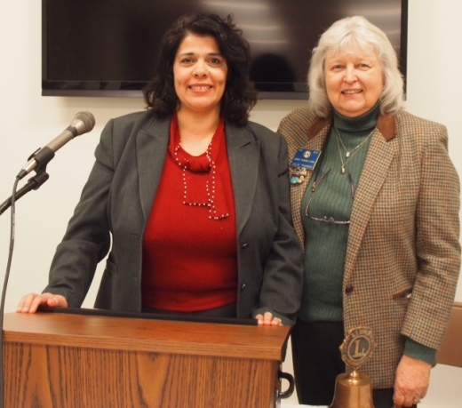 Honored guest Maria Khader with King Lion Julie Thomas at the November Lions Club Meeting